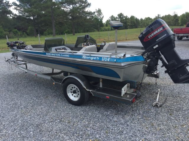 1983 ranger 372 v bass boat w 1998 evinrude intruder 150 for Bass boats with evinrude motors