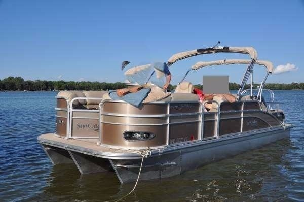 2013 g3 suncatcher 324ss pontoon boat tritoon with 150hp for Boat motors for sale mn