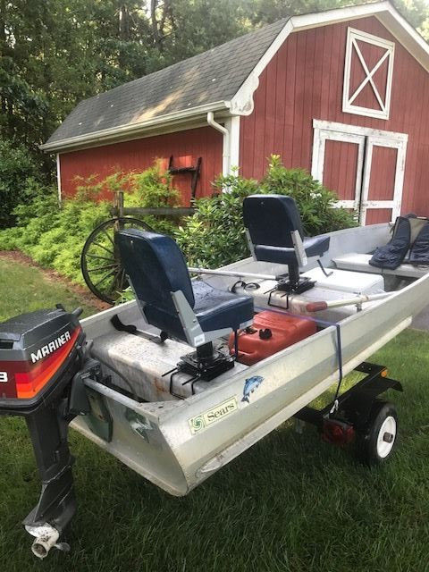 Smoker Craft Boats >> Boat 12 foot Aluminum Sears, 8 horse Mariner with trailer