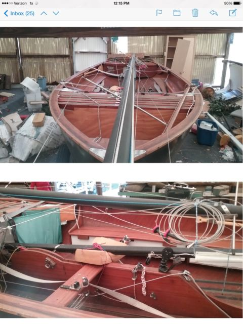 Thistle 17 Foot Mahogany Wood Racing Sailboat For Sale In Winter