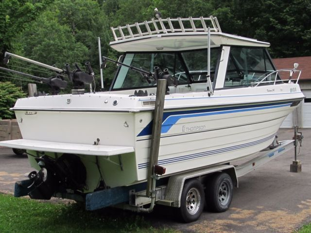 Thompson 240 Hardtop Fisherman boat hard top fishing w/ alum trailer no reserve for sale in ...
