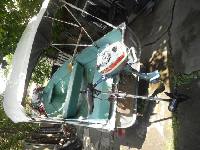 Used Aluminum Fishing Boat W Gas Outboard Motor N Electric