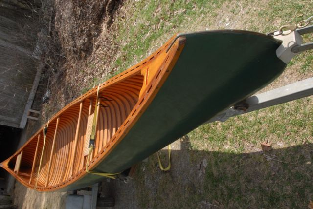 Vintage 18 Foot Wood And Canvas Old Town Canoe With