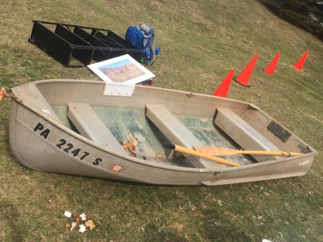 Vintage Sears 11 Aluminum Boat W Wood Oars Pair Set Paddle Jon